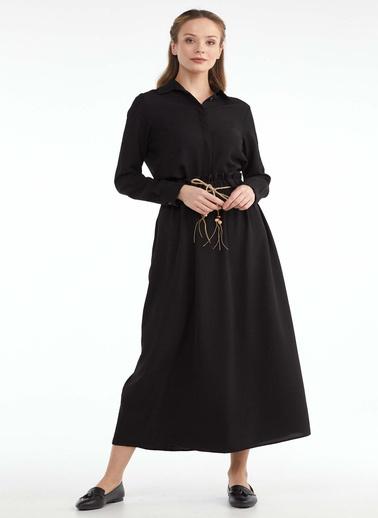 Sementa Kadın Beli Lastikli Kemerli Etek  Siyah